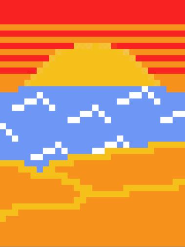 La plage avec peu de pixels