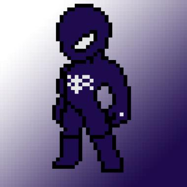 Black Suit spider-Man en pixel art