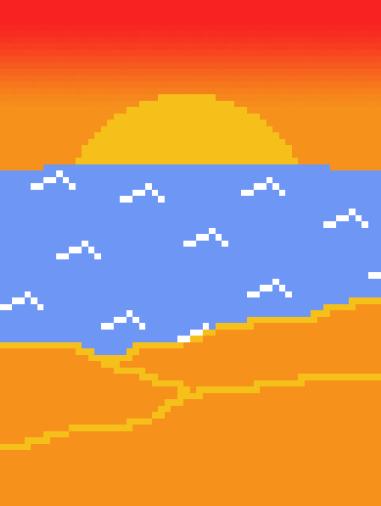 La plage avec plus de pixels